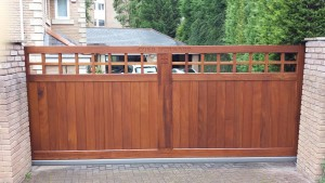 Wooden Made to Measure Courtyard Gates, Iroko Slider