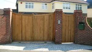 Wooden Bespoke Courtyard Gates - Beaumaris